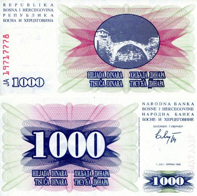 BOSNIA 1000 Dinara Banknote World Paper Money aUNC Currency Pick p15 1992 Bill