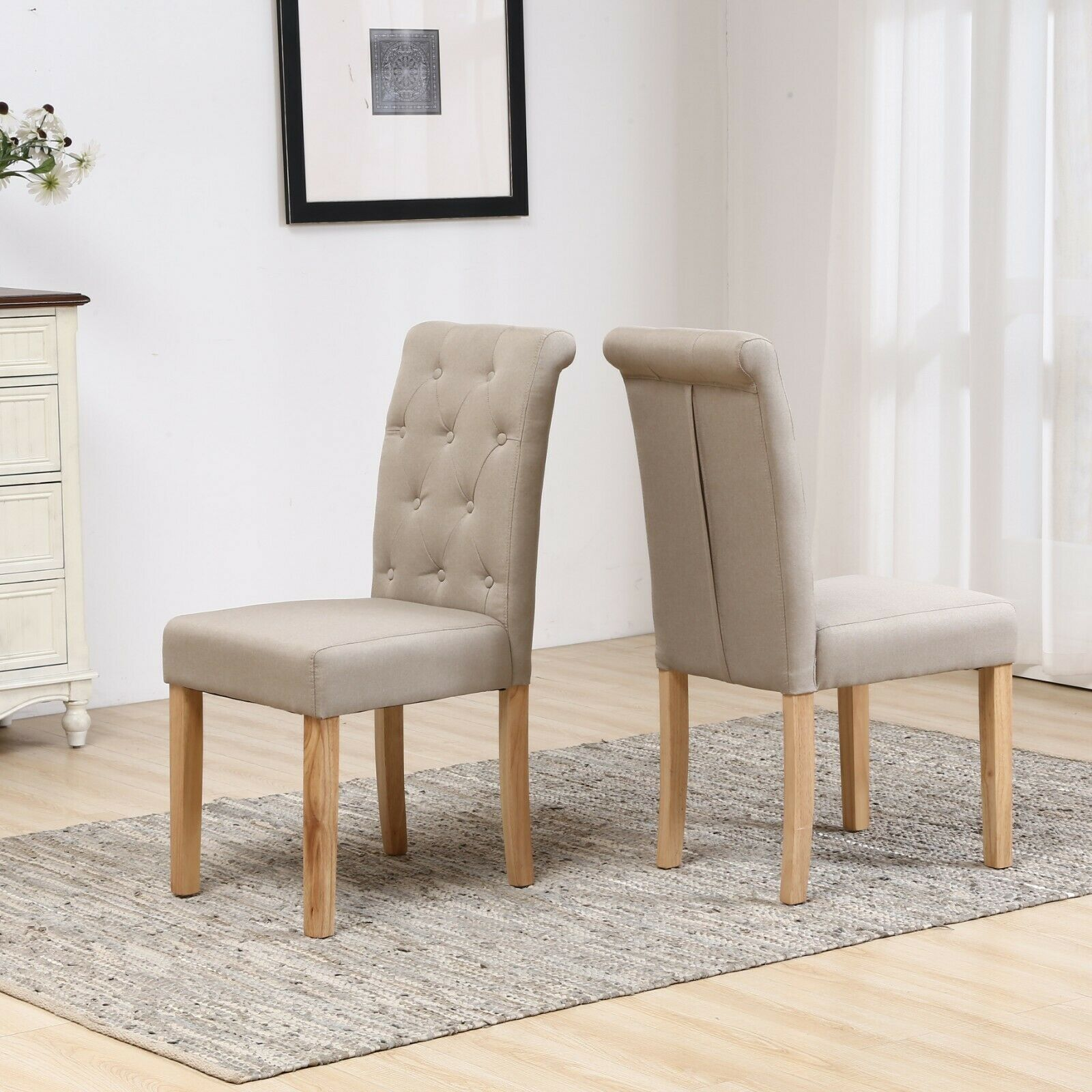 Best Fabric For Dining Room Chairs: Fabric High Button Back Roll Top Seat Dining Room Chairs Set Wooden Oak Legs