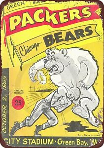 1955-Green-Bay-Packers-vs-Chicago-Bears-Rustic-Retro-Metal-Sign-8-034-x-12-034