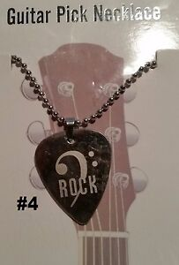 "Hand Made Metal Guitar Pick Necklace (#4: ""rock"" Over Key Note) PréVenir Et GuéRir Les Maladies"