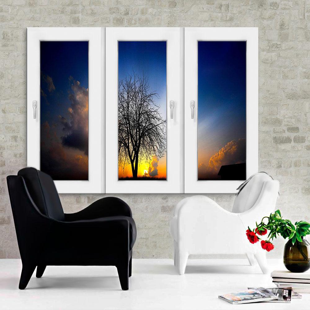 Bild Leinwand Fenster N0118 Keilrahmen Bilder Baum Sonne Kunstdruck