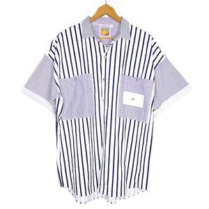 Vintage-Landmark-Striped-Sailor-Mens-Shirt-Size-L-White-Button-Made-In-Australia