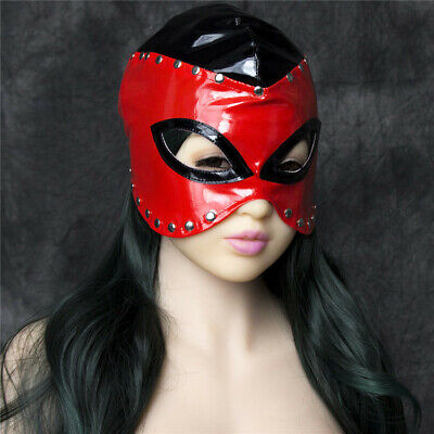 Restraint Head Hood Eye Mask Leather Roleplay Half Face Dungeon Cosplay Black UK