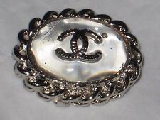 CHANEL  CC LOGO FRONT AUTH SILVER CLEAR GLASS BUTTON TAG 16 x 12 MM emblem NEW