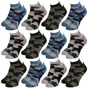 12-Paar-modische-Sneaker-Socken-Damen-Herren-Teenager-schwarz-weiss-farbig