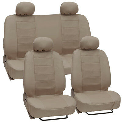 Tan Motor Trend Premium Leatherette Car Bucket Bench Seat Front Rear Cover