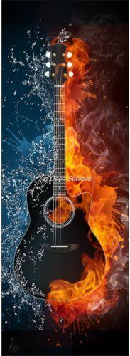 Sticker de porte trompe l'oeil déco Guitare réf 609