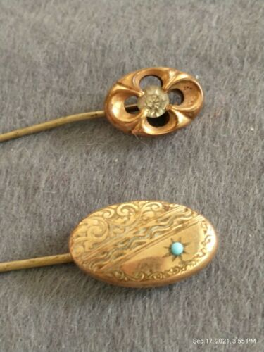 2 Vintage Stick Pins fancy costume Edwardian Victo