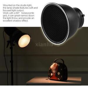 "7"" Reflector Diffuser Lamp Shade Dish W/ 60°Honeycomb Grid F Bowens Studio Light"