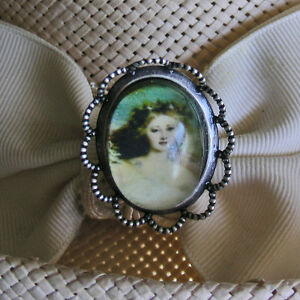 ROMANTIC VICTORIAN LADY CABOCHON ON OLD SILVER FINISH HATPIN