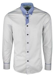 MENS-WHITE-WITH-PRINT-TRIMS-FORMAL-CASUAL-DRESS-SHIRT-S-3XL-ONLY-17-99-385