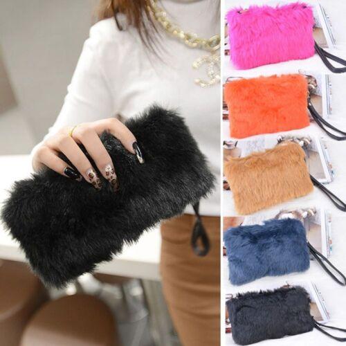 Women Wedding Party Wallet Faux Fur Evening Bag Tote Handbag Clutch