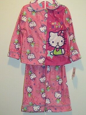 Sz 2t New Girl's Sanrio Hello Kitty Soft Pink Flannel Pajamas Set 4t