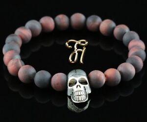 Tigerauge Rot Matt 8mm Armband Perlenarmband Silberfarbener Totenkopf Skull