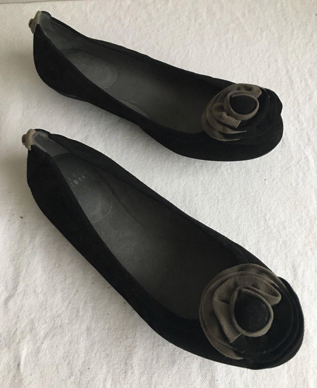 Stuart Weitzman Terciopelo Terciopelo Terciopelo Negro + Suede Flats Talla 7 M  punto de venta barato