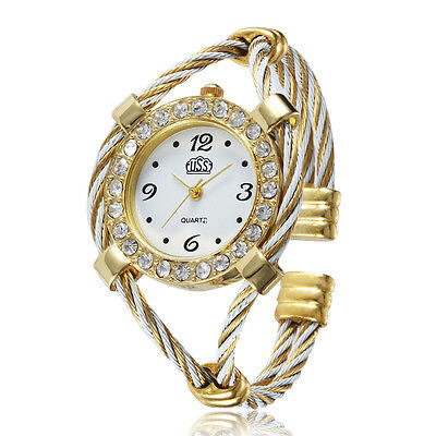 Design Steel Wire Crystal Quartz Beauty Bracelet Wrist Watch For Women Girls h9