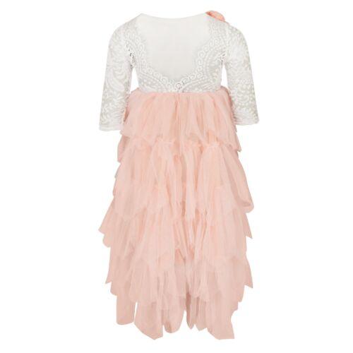 Beautiful Girls Full Length Pink Peach Lace Tulle Layered Tutu Flower Girl Dress