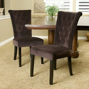 set of 2 chocolate brown velvet dining chairs w button