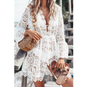 Fashion Women Bathing Suit Lace Crochet Bikini Swimwear Cover Up Beach Dress US