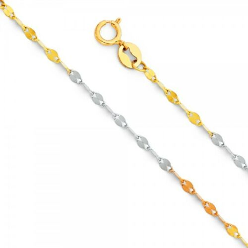 """14K Yellow White Rose Gold 1.5 mm 1.7 mm 2.0 mm Stamped Mirror Chain 16-22/"""""""