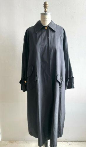 Gucci Coat Black Vintage Swing 1990s Black Silk Tr