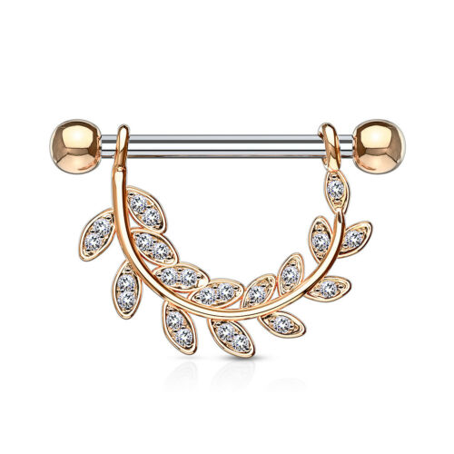 Gold or Rose Gold Steel PAIR Gem Paved Leaf Dangle Nipple Rings Shields