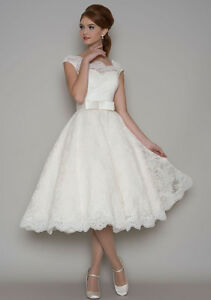 82f56f79779b Image is loading Elegant-New-White-Ivory-Lace-Tea-Length-Sweetheart-