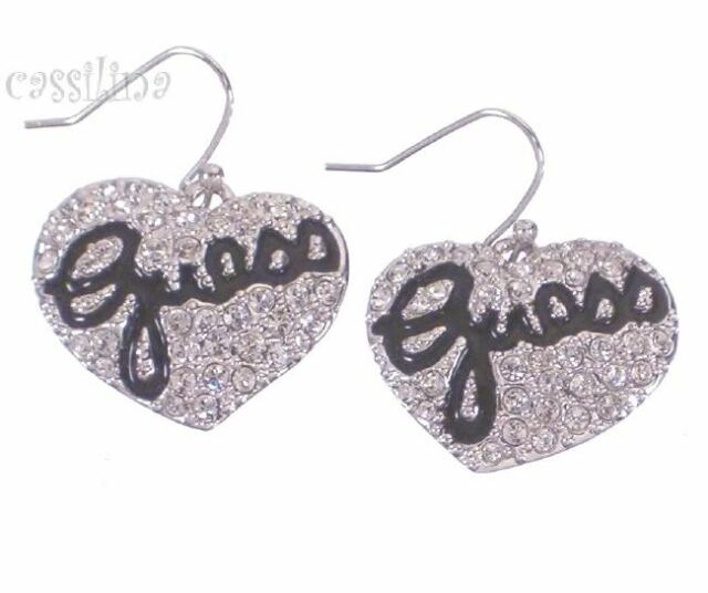 Guess Silver Heart Earrings Black Ube81101 Valentines Day Gift