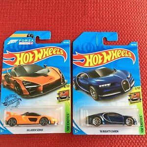 Hot-Wheels-BUGATTI-Chiron-McLaren-Senna-Forza-Edition-Set-of-2-Cars-Brand-NEW