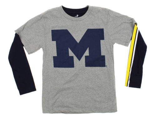 Outerstuff NCAA Youth Boys Michigan Wolverines Squard Combo Shirt Pack Grey