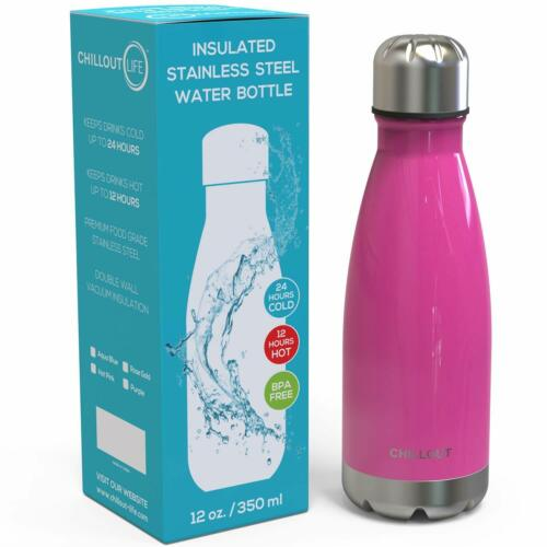 Hot Pink Stainless Steel Water Bottle 12 oz Double Wall Insulated
