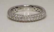 9 CARAT 3 ROW DIAMOND SET WHITE  GOLD DRESS & WEDDING RING 50 POINTS DIAMONDS.