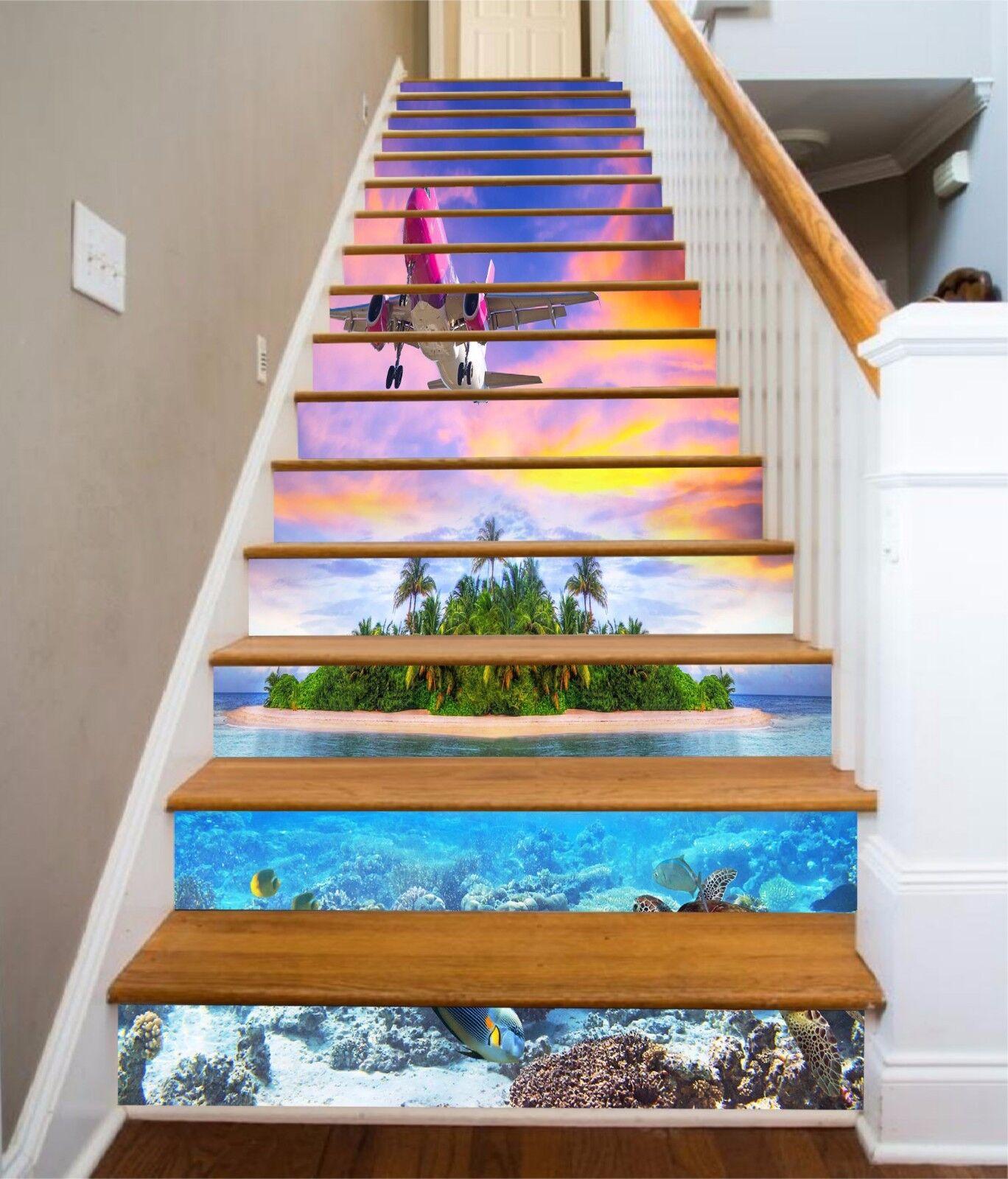 3D Sea Plane 014 Stair Risers Decoration Photo Mural Vinyl Decal WandPapier AU