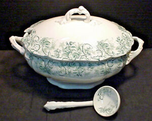 John-Maddock-amp-Sons-ROCOCO-Tureen-w-Lid-and-Ladle-Green-Very-Nice