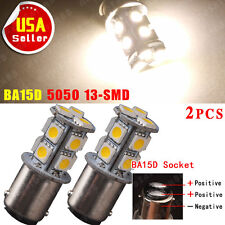 2PCS Warm White BA15D 1142 1076 1178 1130 13-SMD 5050 LED Light bulb RV Boat 12V