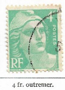 Timbre France Marianne de Gandon 1945-47  Typographiés - N° 717 - 4fr outremer
