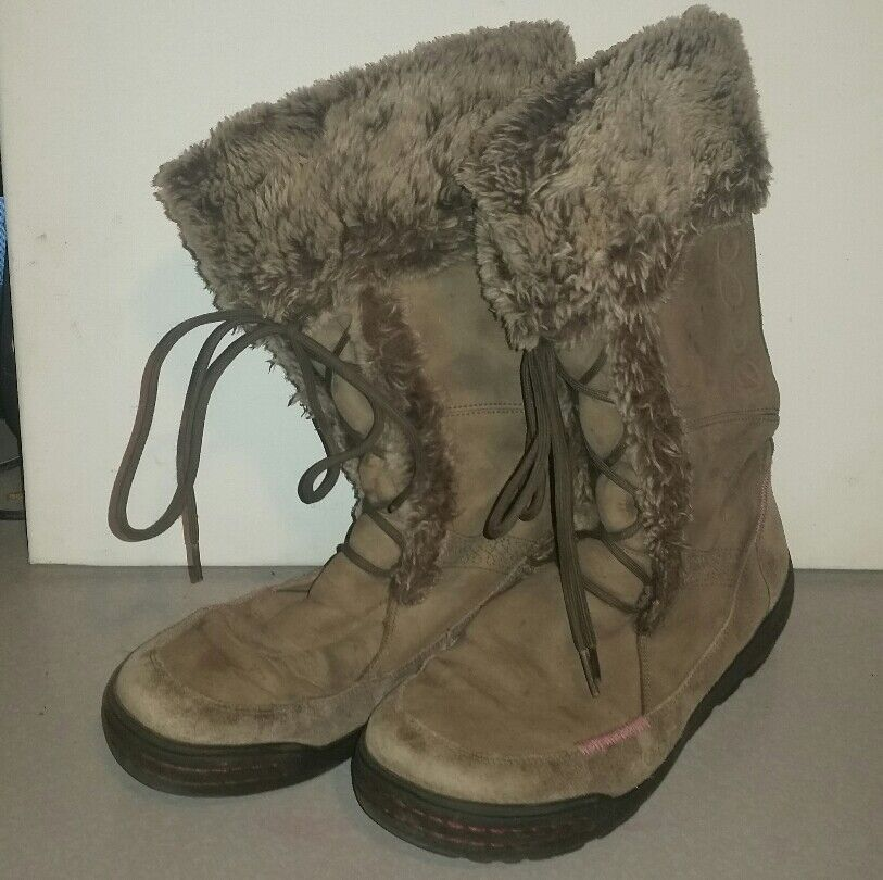 ECCO FUR LINED LEATHER GREY WINTER BOOTS HYRDOMAX WATERPROOF WOMENS SIZE 8.5 39