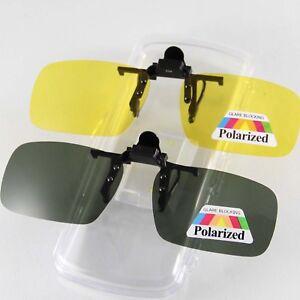 Polarized-Sunglasses-Clipon-Eyewear-Flip-up-Down-Antireflective-UV-Yellow-Green