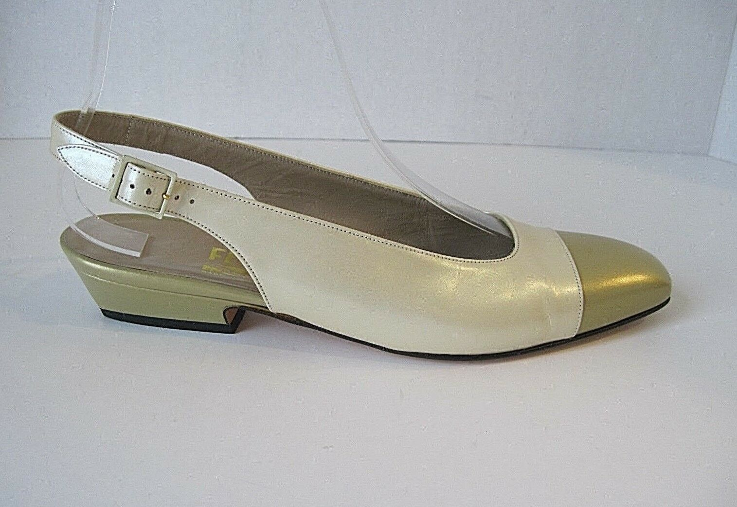 Salvatore Ferragamo Cream gold Leather Leather Leather Slingbacks Heels Size 6.5 AA, Excellent d0bf65