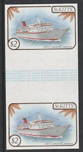 St Kitts 3336-1985 Navires $2 Complete Gouttière Paire Démonté Menthe-afficher Le Titre D'origine