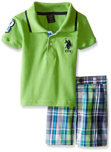 U.S Polo Assn Baby Boys S//S Polo 2pc Short Set 3//6M 6//9M 12M 18M 24M
