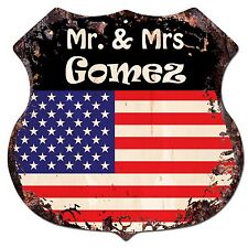 BP0234 America Flag MR. & MRS GOMEZ Family Name Sign Home Chic Decor Gift