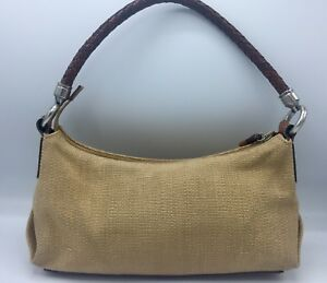 9219dfc897be6 Details about Fossil Handbag Brown Leather Braided Handle Shoulder Bag  Purse Woven Look Tan