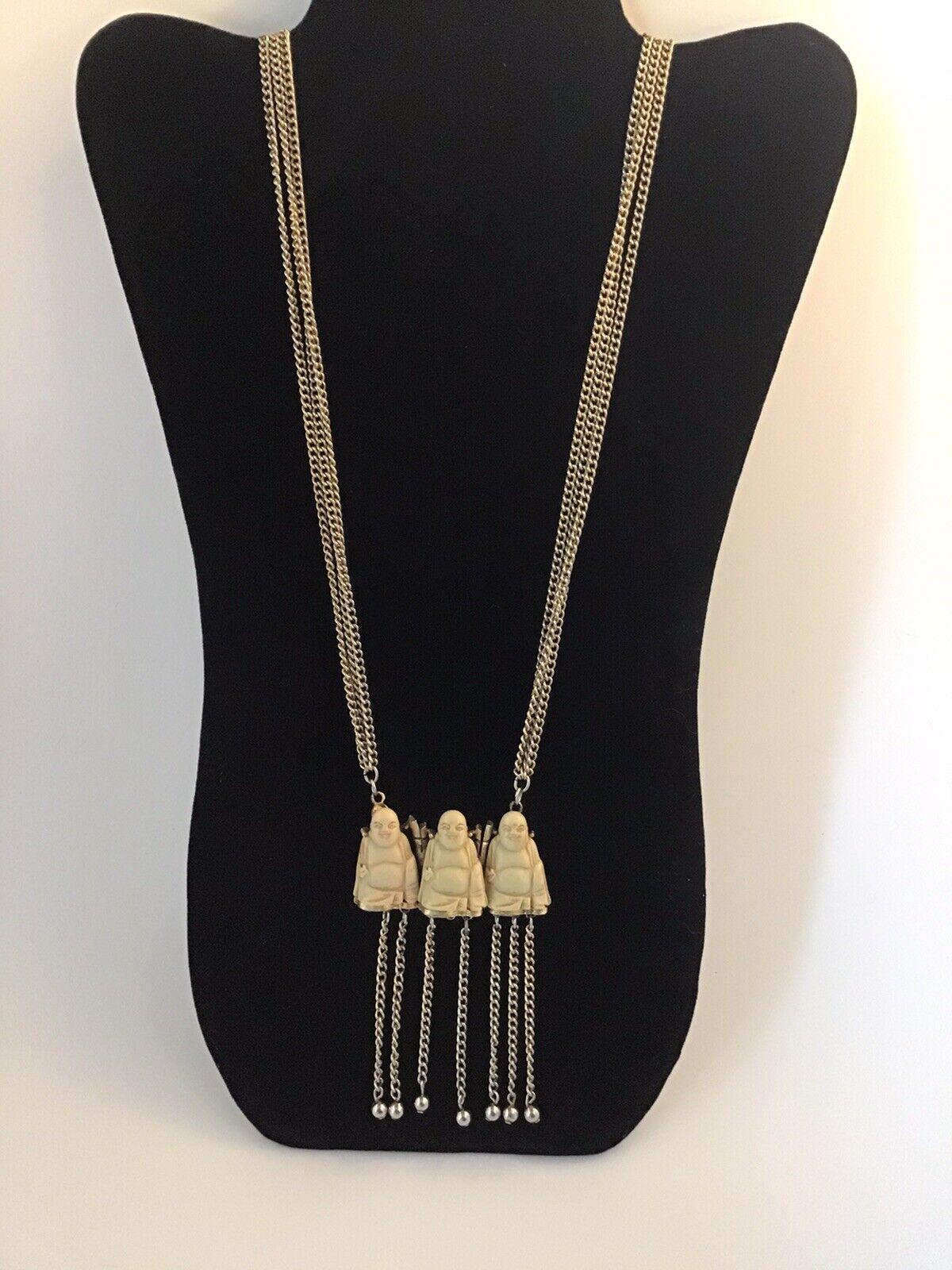 Rare PAULINE Trigere 3 Buddha Necklace - image 1