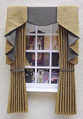 MINIATURE DOLLS HOUSE 12TH SCALE SWAG & TAIL EFFECT CURTAINS DRAPES 7 1/2 IN LG