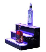 17 Led Lighted Bar Shelf, Three Step Liquor Bottle Glorifier, Back Bar Shelving