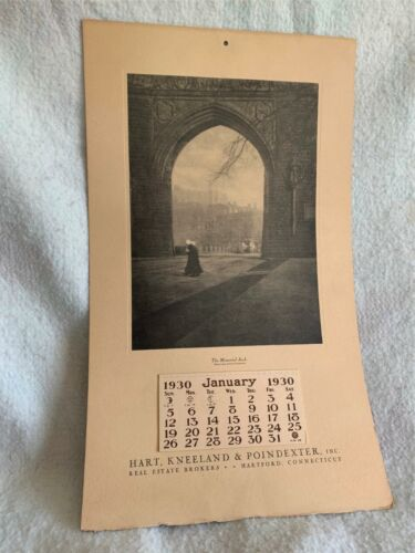Details about  /1930 Calendar Memorial Arch Hart Kneeland Poindexter Real Estate Hartford Co