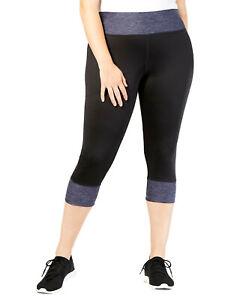 IDEOLOGY-Women-039-s-Colorblocked-Cropped-Leggings-Plus-Size-1X-Black-Space-Gray