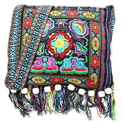 Hmong Vintage Ethnic Shoulder Bag Embroidery Boho Hippie Tassel Tote Messenger
