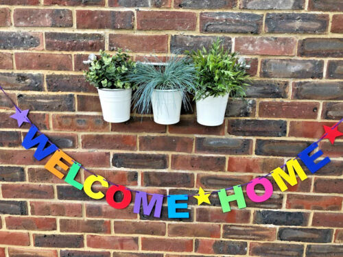 PERSONALISED WELCOME HOME BANNER BUNTING DECORATION MULTI-COLOUR NEW ARRIVAL